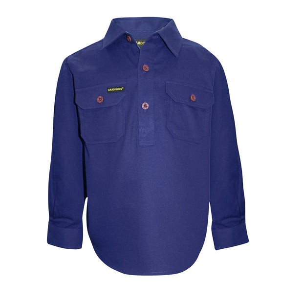 Hardslog Kids Half Placket Heavy Cotton L/S Shirt - Royal Blue