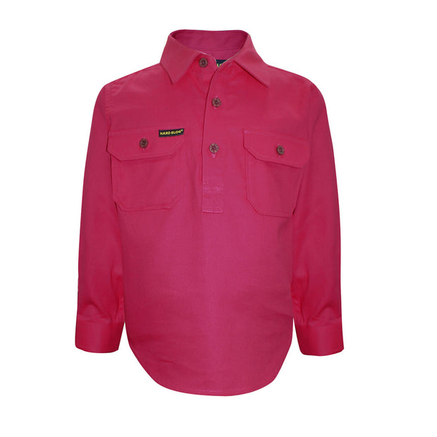 Kids Half Placket Heavy Cotton Shirt - Bright Pink