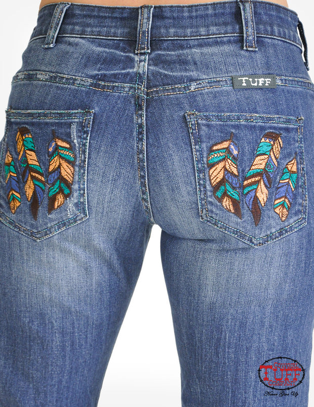 Cowgirl Tuff High Feather Ladies Jeans