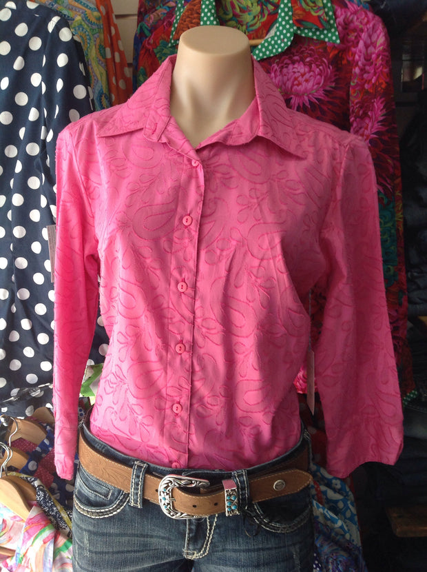 Nettie's Women's 3/4 Sleeved Semi Fitted Shirt - Pink Paisley.  ON SALE