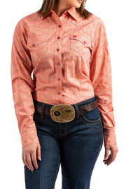 Cinch Ladies Marian Long Sleeved Shirt - Coral