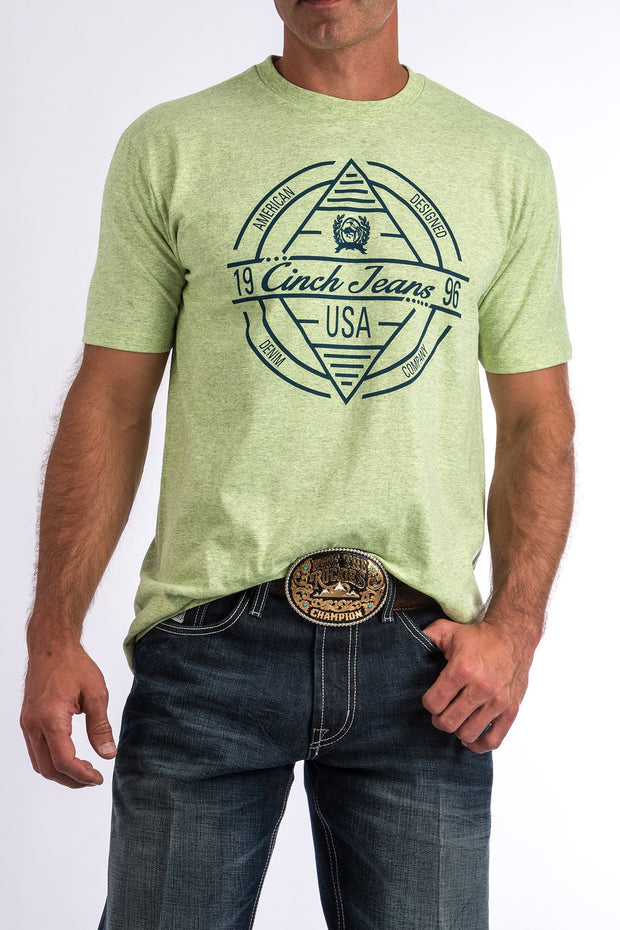 Cinch Mens Crew Neck T Shirt - Lime/Navy