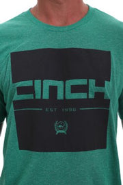 CINCH MENS LOGO CREW NECK TEE - HEATHER GREEN