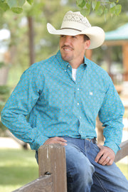 Cinch Mens Turquoise Print L/S Shirt
