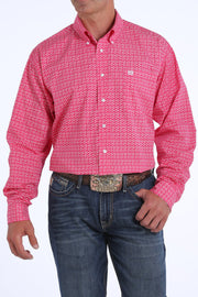 Cinch Men's Fuchsia Geometric Print L/S Shirt