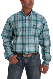 Cinch Mens Turquoise and Gray Ombre Plaid Button Down Western Shirt