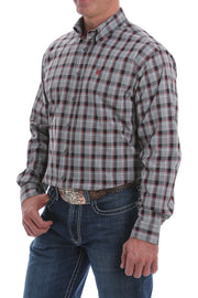 Cinch Black, Grey and Burgundy Plaid L/S Shirt