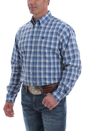 Cinch Light Blue, Navy and White Plaid L/S Shirt