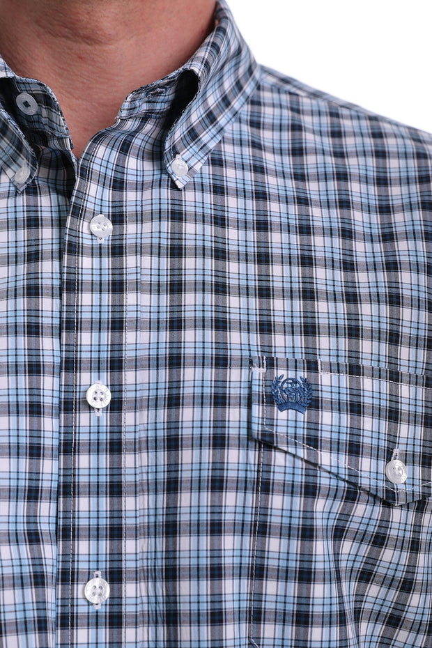 Cinch Mens L/S Shirt - Navy Blue Black and White Plaid