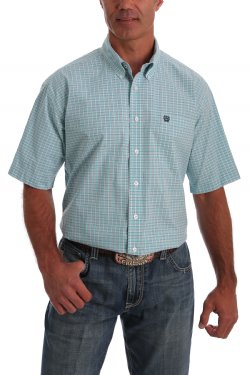 CINCH MEN'S SHORT SLEEVE TEAL, GRAY AND WHITE WINDOWPANE PLAID BUTTON-DOWN WESTERN SHIRT