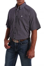 CINCH MEN'S SHORT SLEEVE PURPLE AND WHITE GEOMETRIC PRINT BUTTON-DOWN WESTERN SHIRT