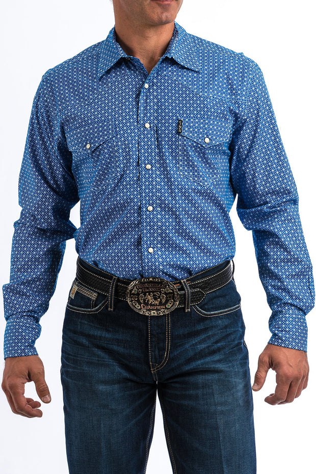 Cinch Mens Modern Fit L/S Shirt - Blue