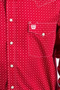 Cinch Mens Red Burgandy Long Sleeved Shirt