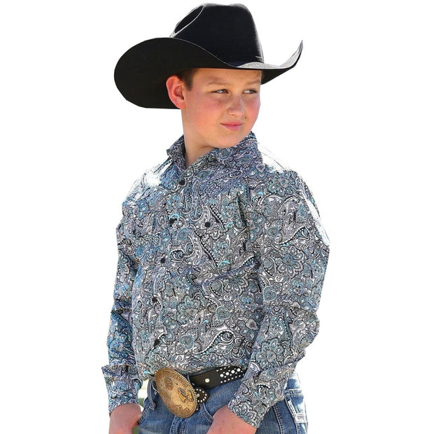 Cinch Boys Darius Long Sleeved Shirt - Grey