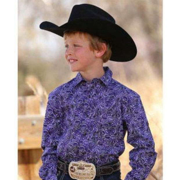 Cinch Boys Purple Paisley Long Sleeved Shirt