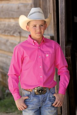 Cinch Boys Candy Pink L/S Shirt