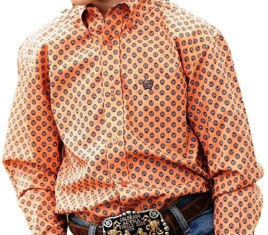 Cinch Boys Orange Small Paisley Print L/S Shirt
