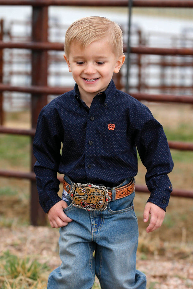 Cinch Toddler L/S Shirt - Black, blue and orange print