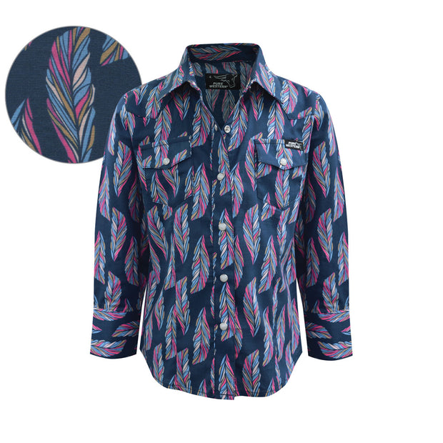 Pure Western Girl's Trixie Print L/S Shirt - Navy/Multi