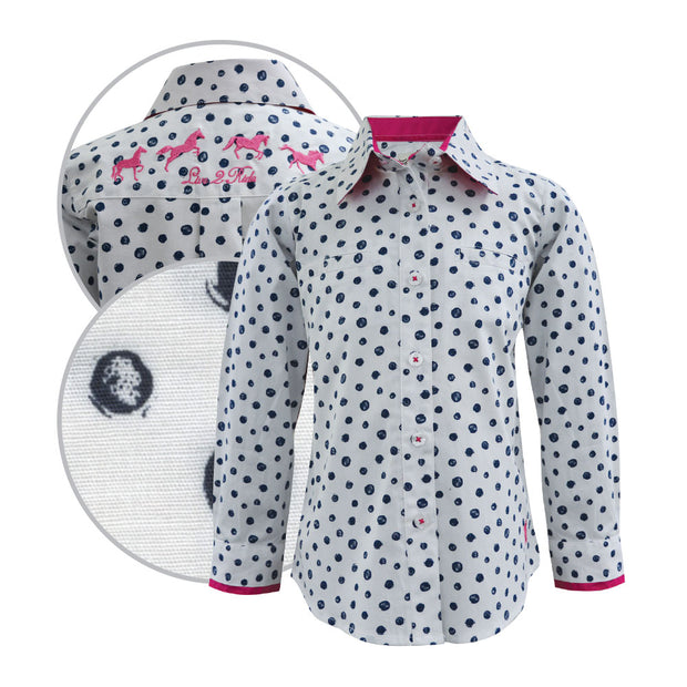 Thomas Cook Girls Mia Print Long Sleeved Shirt - White/Magenta/Deep Blue