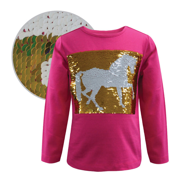 Thomas Cook Girls Reversible Sequin L/S Top - Pink