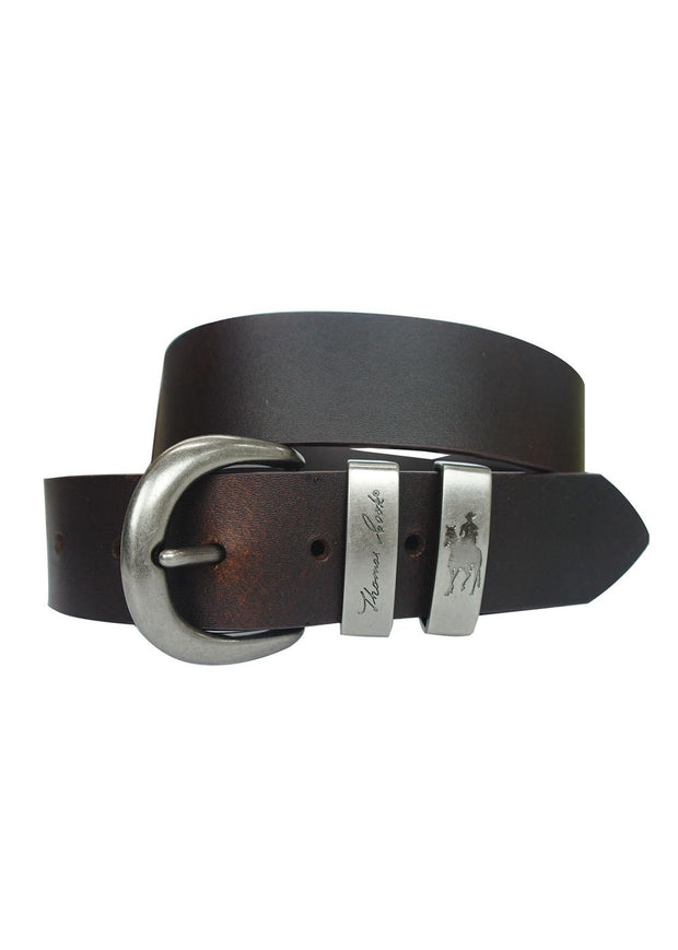 Thomas Cook Brass Twin Keeper Belt - Chocolate
