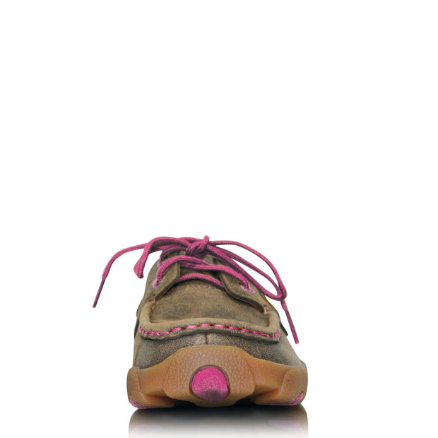 Twisted X Womens Pink Ribbon Lace Up Mocs - Low - Bomber/Neon Pink