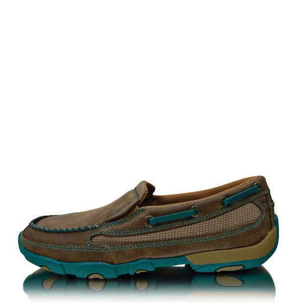 Twisted X Casual Ladies Driving Mocs Boat Slip On -Bomber Turquoise