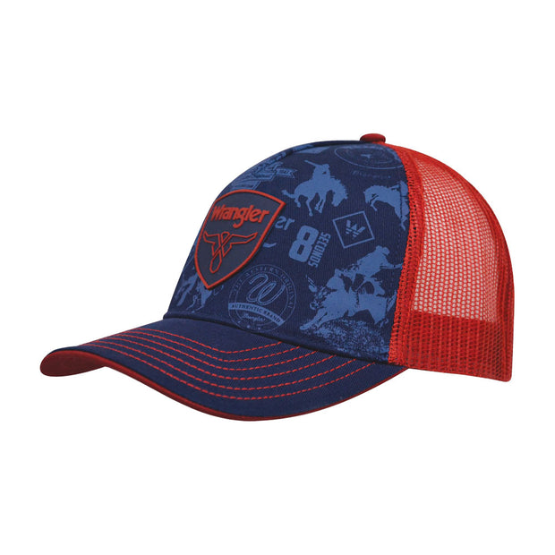 Wrangler Boys Charlie Trucker Cap - Dark Navy/Red