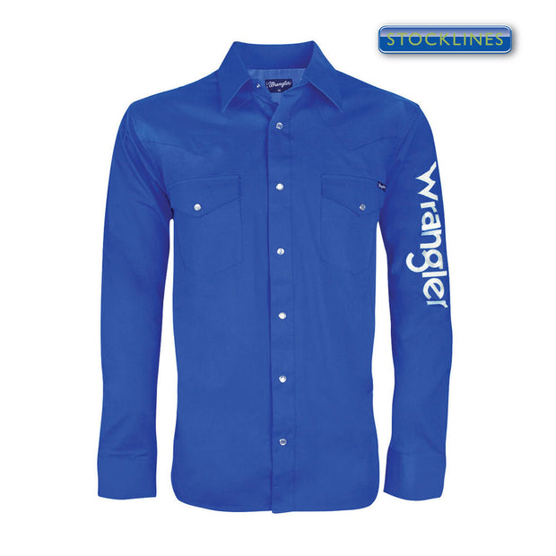 Mens Wrangler Logo Rodeo L/S Drill Shirt - Cobalt