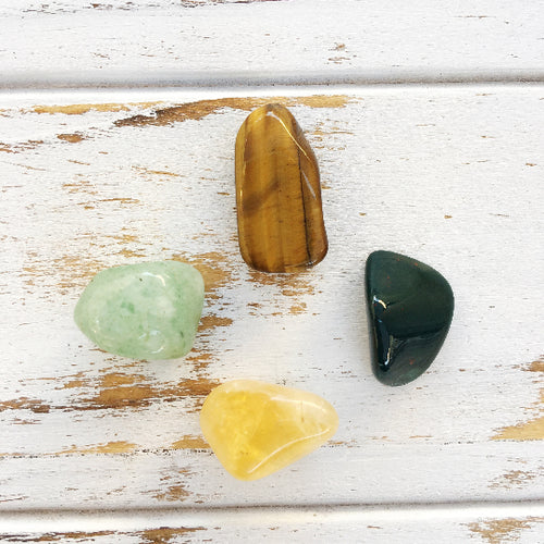 Abundance & Success * 4 Piece Stone Set * Bloodstone, Tiger Eye, Citrine & Aventurine * Reiki Charged - Boss Lady Swag
