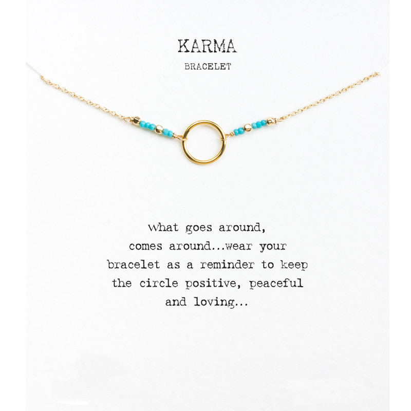 Karma Turquoise Seed Bead Gold Dipped Bracelet - Boss Lady Swag