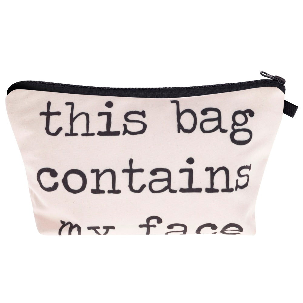 This Bag Contains My Face  3D Print Women's Cosmetics Bag - Boss Lady Swag