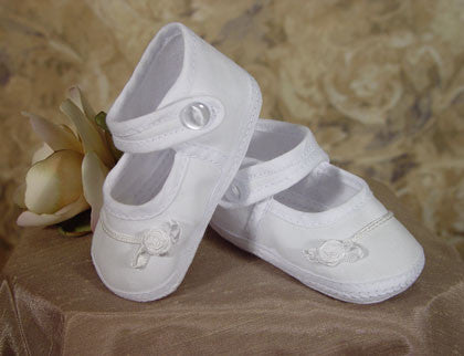 Girl Shoes - Cotton Batiste Shoe Accented with tiny braid