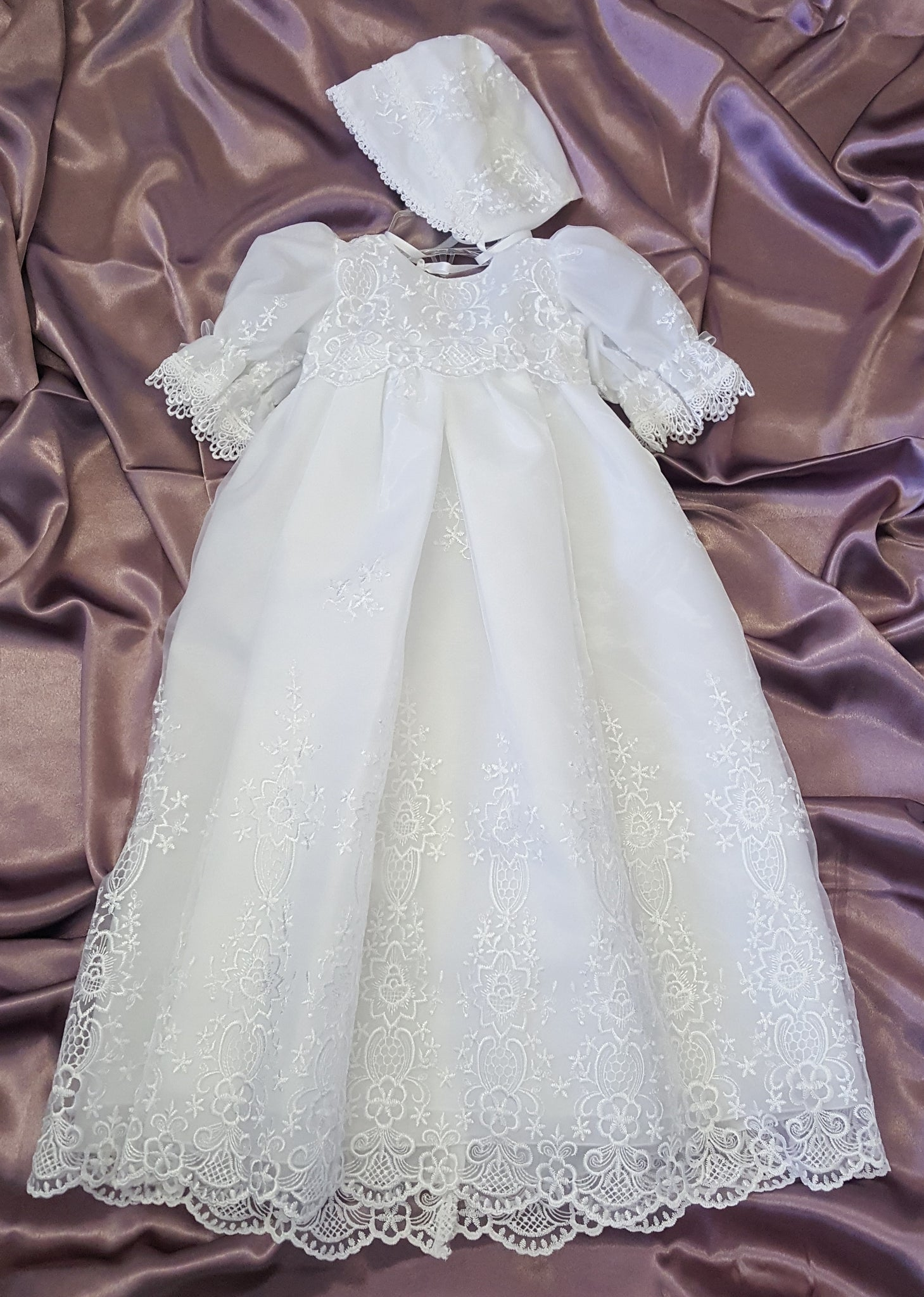 Embroidered Organza Christening Gown