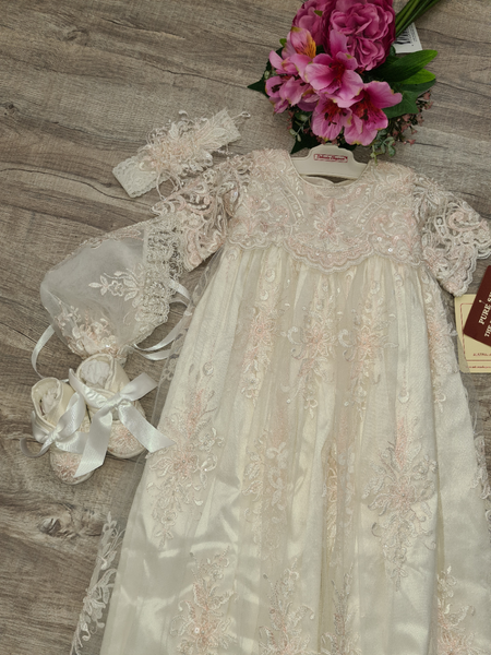 4350G Ivory silk with pink and ivory lace - size 0 - LAST ONE