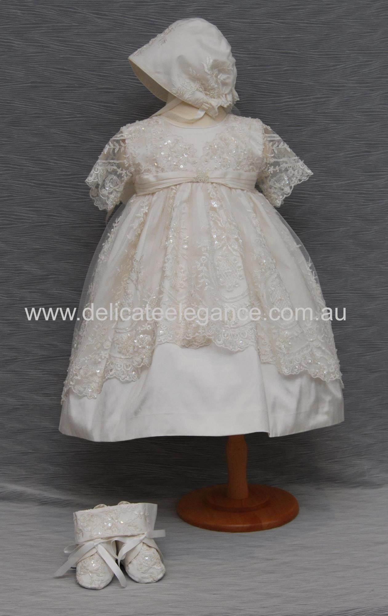 Girls Silk Christening Dress - ivory lace 4257