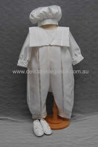 4271: Boys' Satin Christening Romper