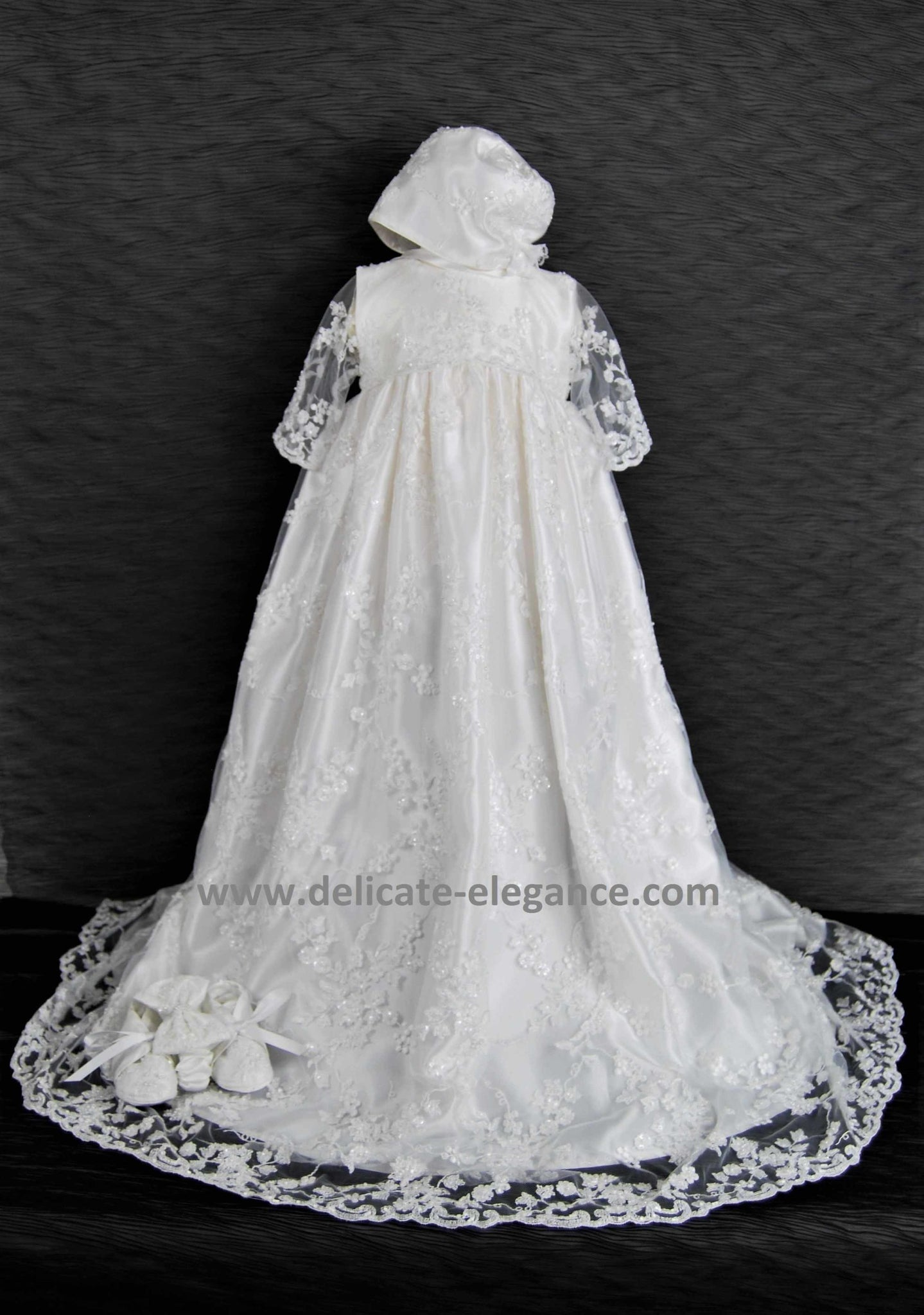 4348 (White Lace): Girls' Satin Christening Gown - size 0