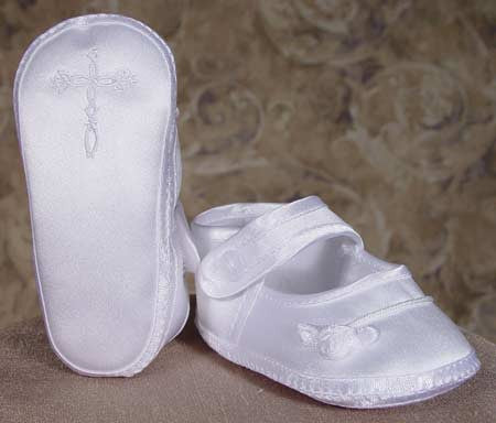 Girls Satin Shoe with Celtic Cross and Rosette