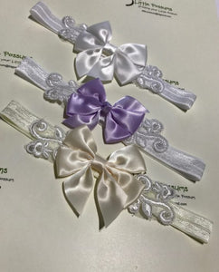 Double Satin Bow & Vintage Lace Headband