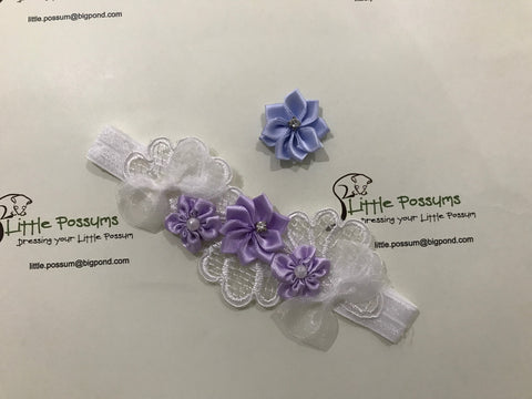 Bows Diamante Flowers And Vintage Lace Headband