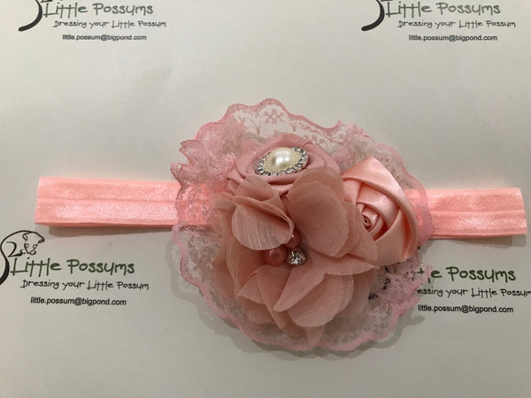 Cluster Flowers And Lace Diamante Headband