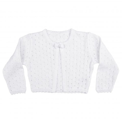Girls White 100% Cotton Cardigan with Tear Drop Pattern and Scalloped Trim