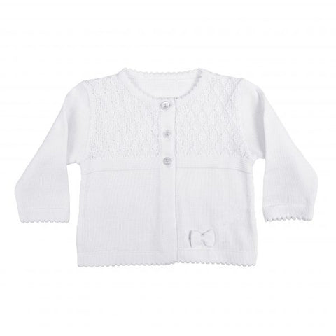 Girls White 100% Cotton Cardigan with Diamond Knit Bodice and Rosebud Trim