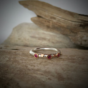 Bague Picot Or Rose Rhodolite Empilable / Stackable Rhodolite Rose Gold Picot Ring