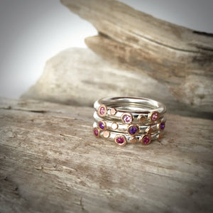 Ensemble Trois De Bagues Picots Or Rose / Three Stackable Rose Gold Picots Rings