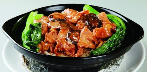 Chicken and black mushroom with rice - 香菇鸡片饭