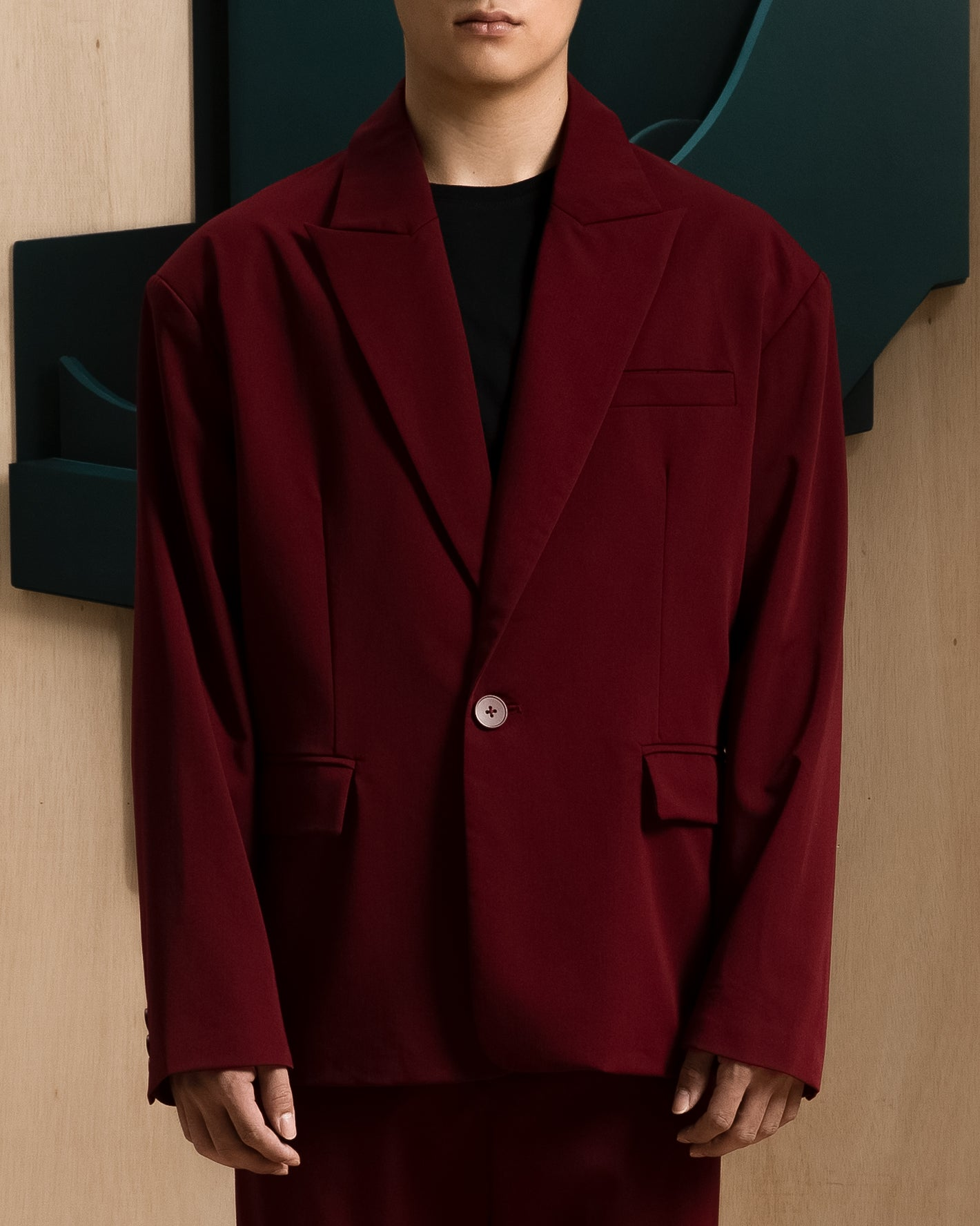 Red Drop Shoulder Blazer