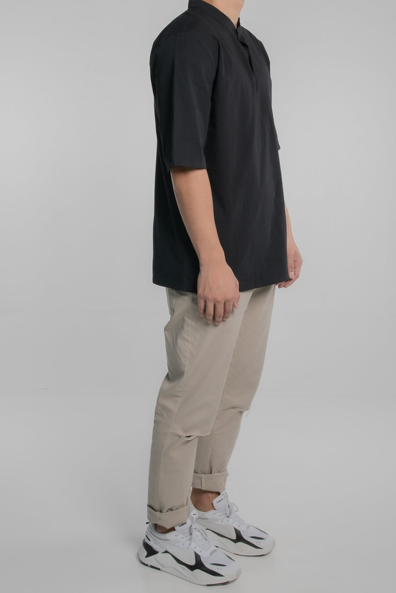 Mandarin Collar Short Sleeve Shirt (Black)
